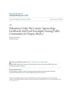 Subsistence Under The Canopy: Agroecology, Livelihoods And Food Sovereignty Among Coffee Communities In Chiapas, Mexico