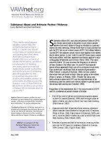 Substance abuse (SA) and intimate partner violence (IPV)