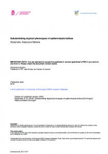 Substantiating atypical phenotypes of epidermolysis bullosa Gostynska, Katarzyna Barbara