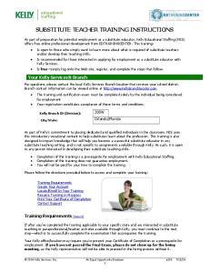 SUBSTITUTE TEACHER TRAINING INSTRUCTIONS