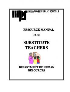 SUBSTITUTE TEACHERS DEPARTMENT OF HUMAN RESOURCES