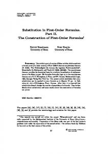 Substitution in First-Order Formulas. Part II. The Construction of First-Order Formulas 1