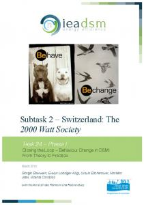 Subtask 2 Switzerland: The 2000 Watt Society