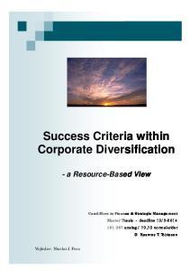 Success Criteria within Corporate Diversification