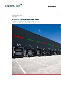 Success Factors for Swiss SMEs Prospects and Challenges for Exports