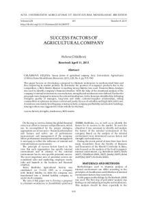 SUCCESS FACTORS OF AGRICULTURAL COMPANY
