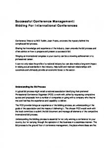 Successful Conference Management: Bidding For International Conferences