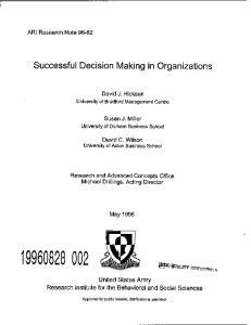 Successful Decision Making in Organizations