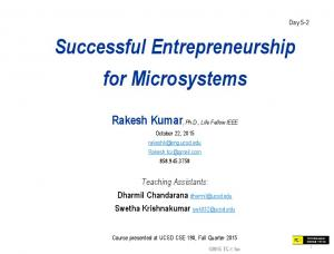 Successful Entrepreneurship for Microsystems