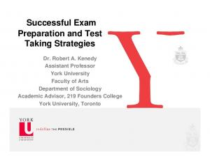 Successful Exam Preparation and Test Taking Strategies