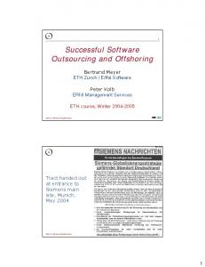 Successful Software Outsourcing and Offshoring