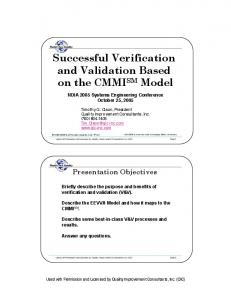 Successful Verification and Validation Based on the CMMI SM Model