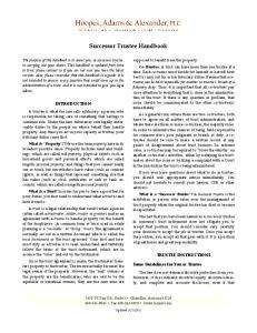 Successor Trustee Handbook