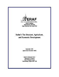 Sudan s Tax Structure, Agriculture, and Economic Development
