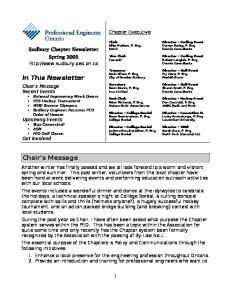 Sudbury Chapter Newsletter Spring 2005