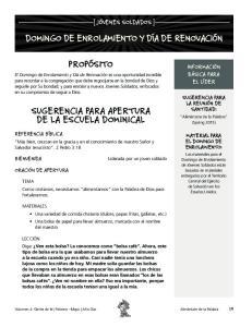SUGERENCIA PARA APERTURA DE LA ESCUELA DOMINICAL