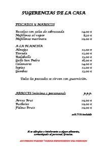 SUGERENCIAS DE LA CASA