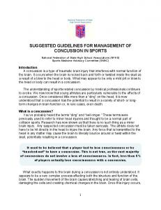 SUGGESTED GUIDELINES FOR MANAGEMENT OF CONCUSSION IN SPORTS