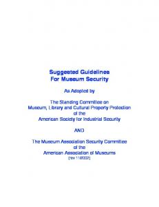 Suggested Guidelines For Museum Security