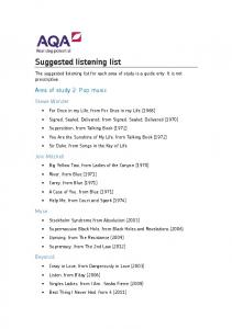 Suggested listening list