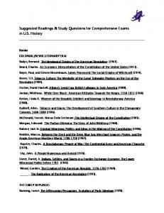 Suggested Readings & Study Questions for Comprehensive Exams in U.S. History