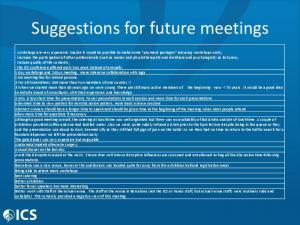 Suggestions for future meetings