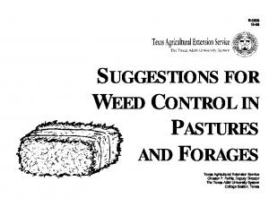 SUGGESTIONS FOR WEED CONTROL IN PASTURES