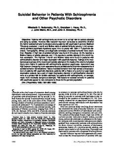 Suicidal Behavior in Patients With Schizophrenia and Other Psychotic Disorders