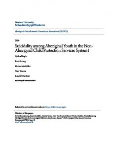 Suicidality among Aboriginal Youth in the Non- Aboriginal Child Protection Services System1