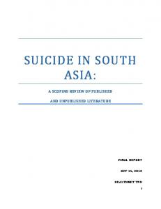 SUICIDE IN SOUTH ASIA: