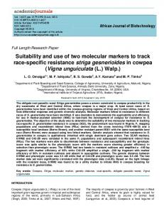 Suitability and use of two molecular markers to track race-specific resistance striga gesnerioides in cowpea (Vigna unguiculata (L.) Walp