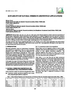 SUITABILITY OF NATURAL FIBRES IN GEOTEXTILE APPLICATIONS