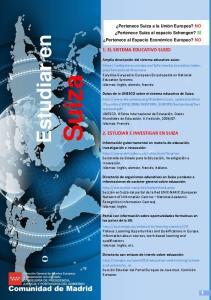 Suiza. Estudiar en 1. EL SISTEMA EDUCATIVO SUIZO 2. ESTUDIAR E INVESTIGAR EN SUIZA