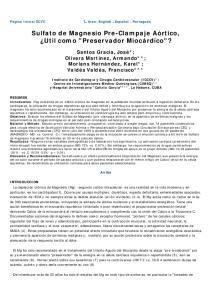 Sulfato de Magnesio Pre-Clampaje Aórtico, Util como