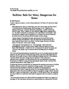 Sulfites: Safe for Most, Dangerous for Some