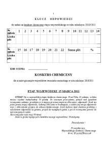 Suma pkt. % KONKURS CHEMICZNY