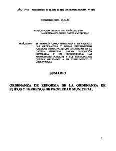 SUMARIO ORDENANZA DE REFORMA DE LA ORDENANZA DE EJIDOS Y TERRENOS DE PROPIEDAD MUNICIPAL
