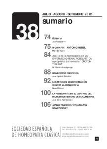 sumario SOCIEDAD ESPAÑOLA DE HOMEOPATÍA CLÁSICA JULIO AGOSTO SETIEMBRE 2012 Editorial