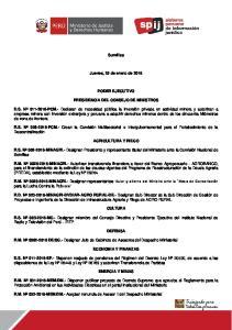 Sumillas. Jueves, 25 de enero de 2018 PODER EJECUTIVO PRESIDENCIA DEL CONSEJO DE MINISTROS