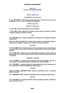 SUMILLAS Viernes, 14 de noviembre de 2003 PODER LEGISLATIVO CONGRESO DE LA REPUBLICA