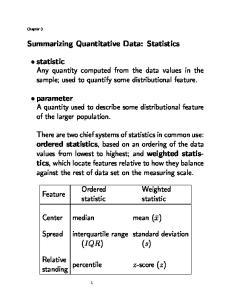 Summarizing Quantitative Data: Statistics
