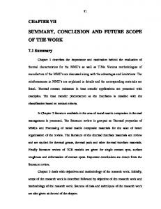 SUMMARY, CONCLUSION AND FUTURE SCOPE OF THE WORK