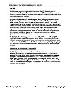 SUMMARY OF CAPITAL IMPROVEMENT BUDGET