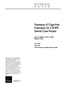 Summary of Cognitive Interviews for CAHPS Dental Care Project