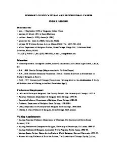SUMMARY OF EDUCATIONAL AND PROFESSIONAL CAREER JOHN S. STRONG