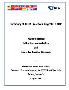 Summary of ERIA Research Projects in 2008