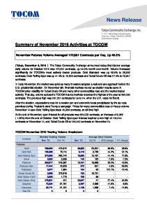 Summary of November 2016 Activities at TOCOM