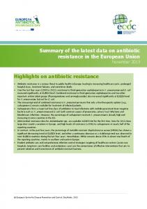 Summary of the latest data on antibiotic resistance in the European Union November Highlights on antibiotic resistance