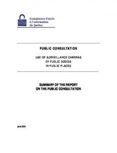 SUMMARY OF THE REPORT ON THE PUBLIC CONSULTATION