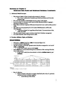 Summary on Chapter 3 Relational Data Model and Relational Database Constraints